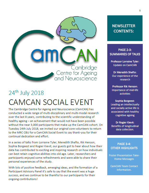 Cam-CAN Newsletter 2018